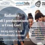 """M!M organizuje radionicu """"Mladi i preduzetništvo u Crnoj Gori"""""""